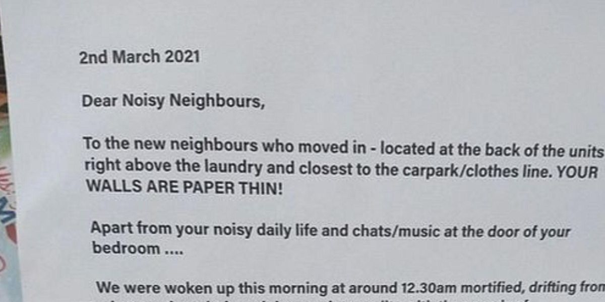 Neighbors Send 'Mortifying' Note To Tell Couple the Bedroom Wall Is 'Paper Thin'