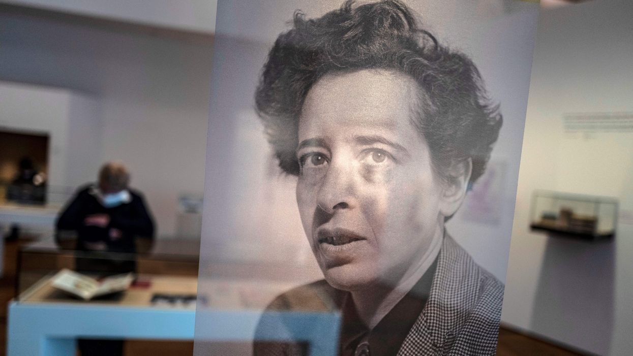 A picture of German political philosopher Hannah Arendt at an exhibition about her work.