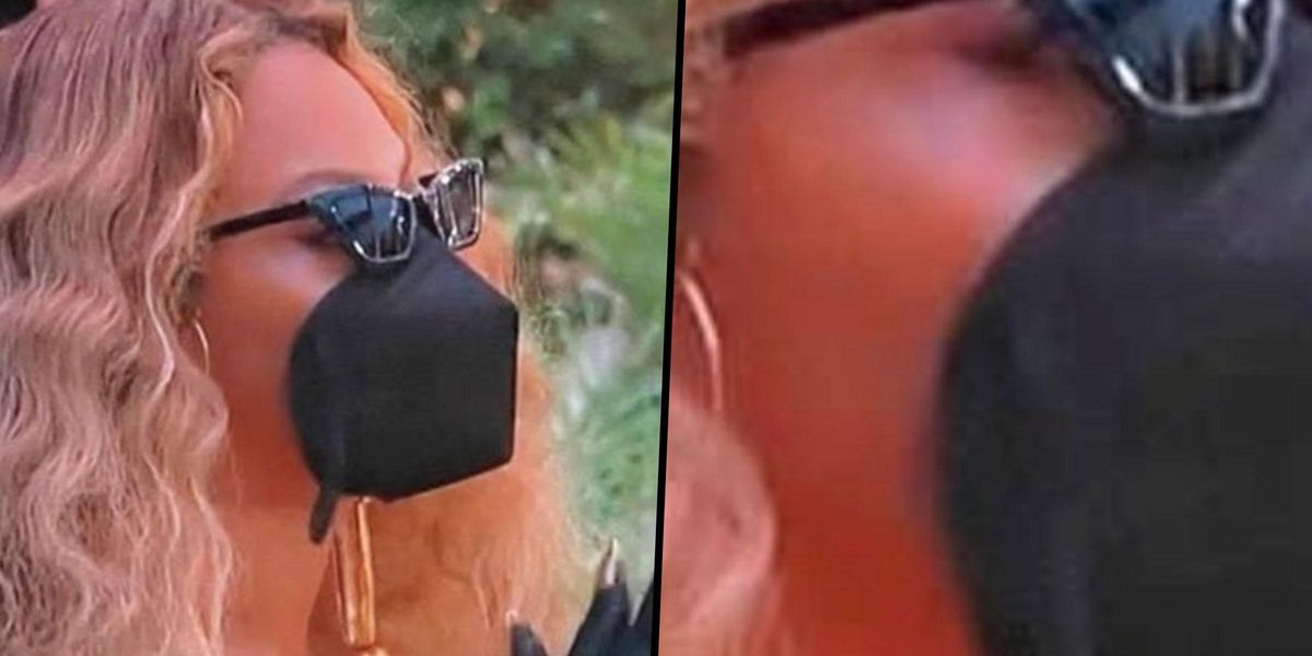 Beyoncé Is So Magical She Doesn't Even Need Straps For Her Face Mask