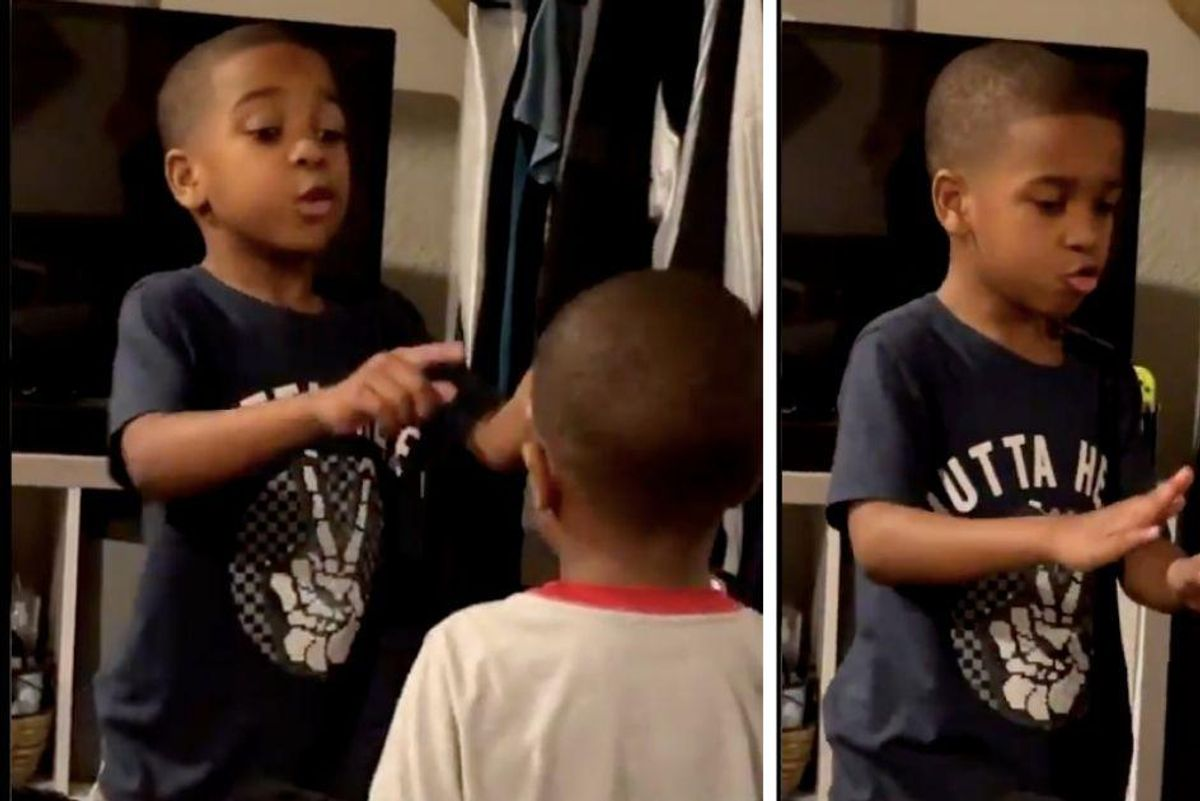 6-yr-old expertly coaches his little brother through a tantrum-ending breathing exercise