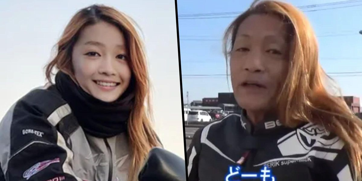 Young Female Japanese Motorbike Rider Is Really a 50-Year-Old Man