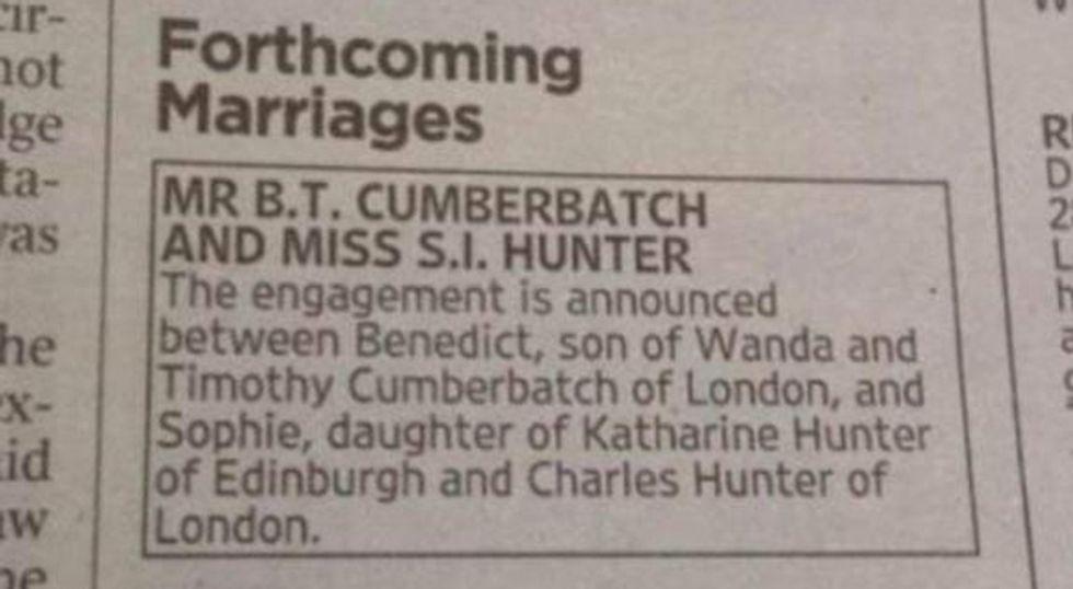 SHUT IT DOWN: Benedict Cumberbatch Is Engaged