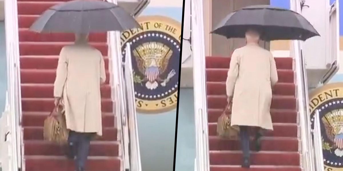 Joe Biden Nearly Falls Again Walking Up the Stairs of Air Force One