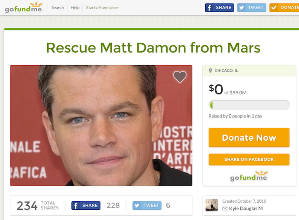 Someone Is Trying To Raise Money To Save Matt Damon From Mars