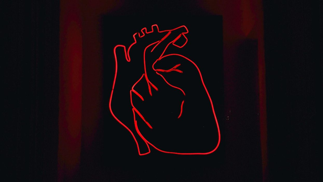 A red neon sign of an anatomical heart.