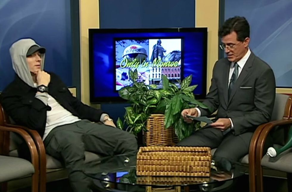 Watch Stephen Colbert Host a Public Access Show in Michigan -- With Eminem