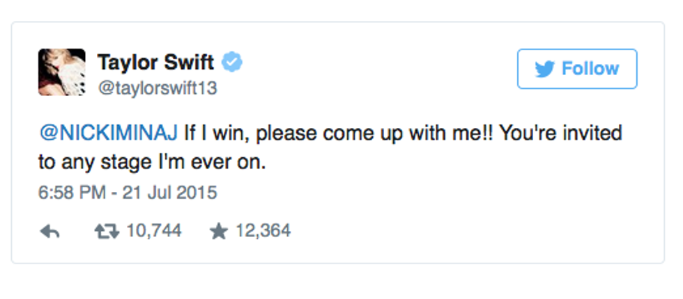 Updated: Nicki Minaj and Taylor Swift Get Into It On Twitter Over the VMA Nominations