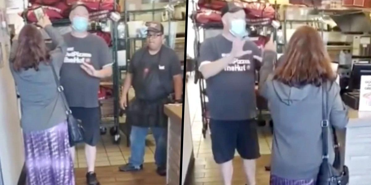 'Pizza Hut Karen' Has Huge Breakdown in Store After Allegedly Throwing Pizza at Employee