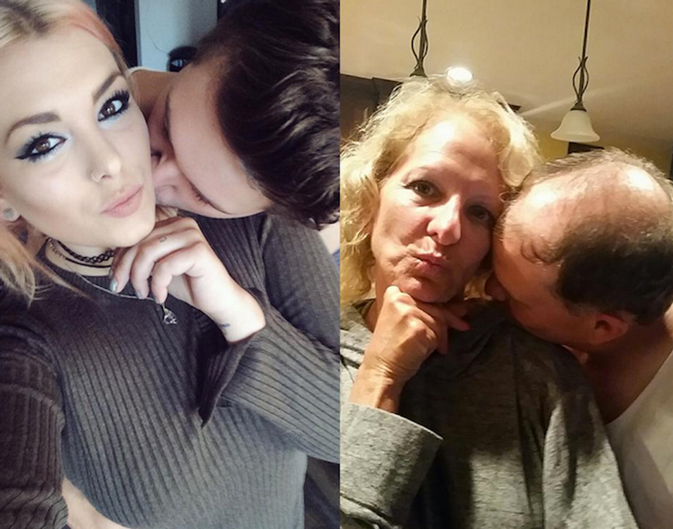 Best/Worst Parents Ever Recreate Their Daughter's Smoochy Couple Selfies