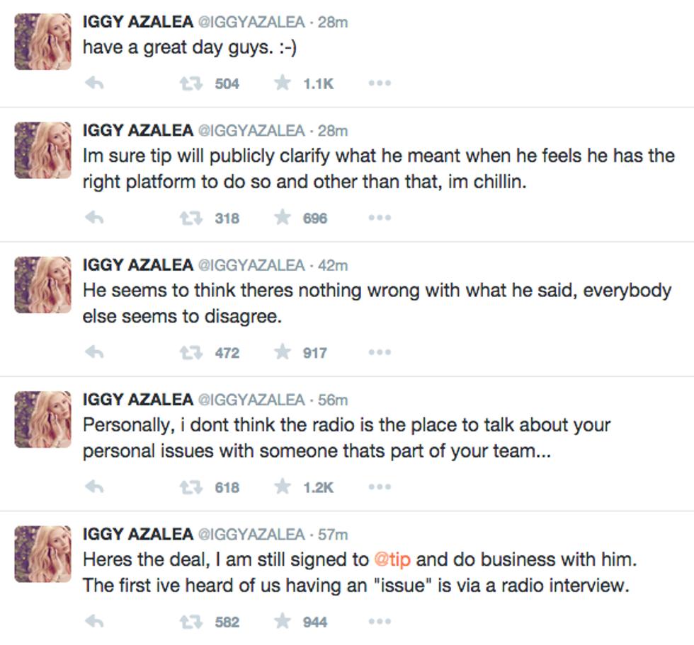UPDATE: T.I. is Trying to Distance Himself From Iggy Azalea's Twitter, Iggy Azalea Responds on Twitter