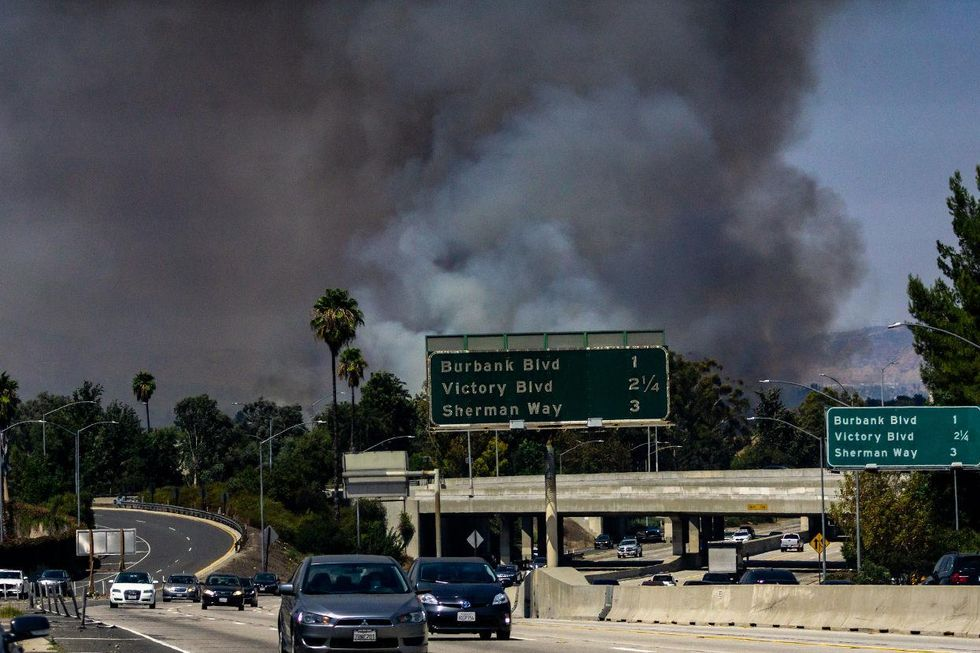 Wildfire California freeway