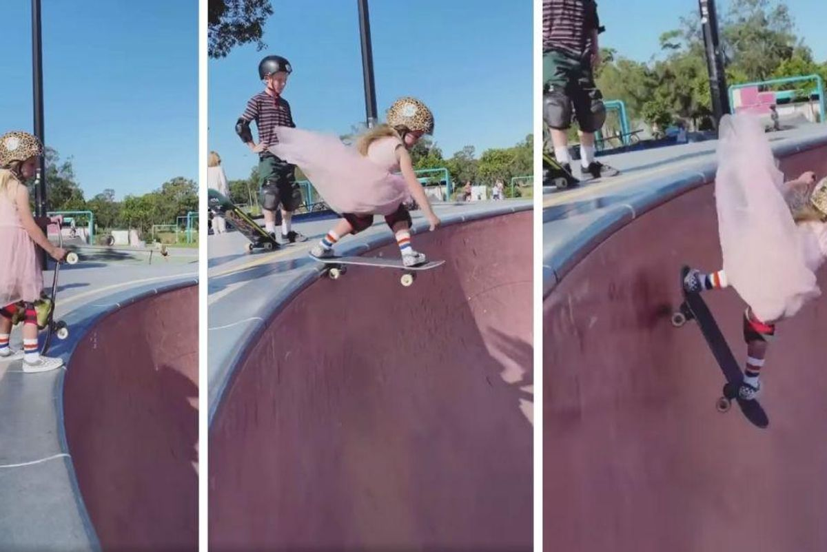 Fearless 6-year-old skater impresses, dropping into a 12-foot bowl in her pink party dress