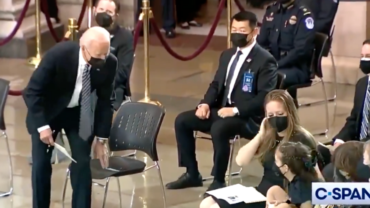 Biden Hands Dropped Toy Back To Slain Capitol Officer's Child In Sweet Moment During Memorial Service