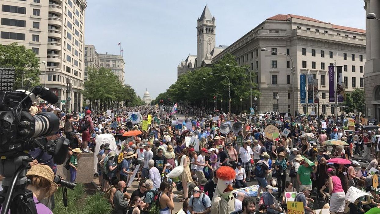 Activists gathered for the People's Climate March in Washington, DC, Saturday on April 29, 2017
