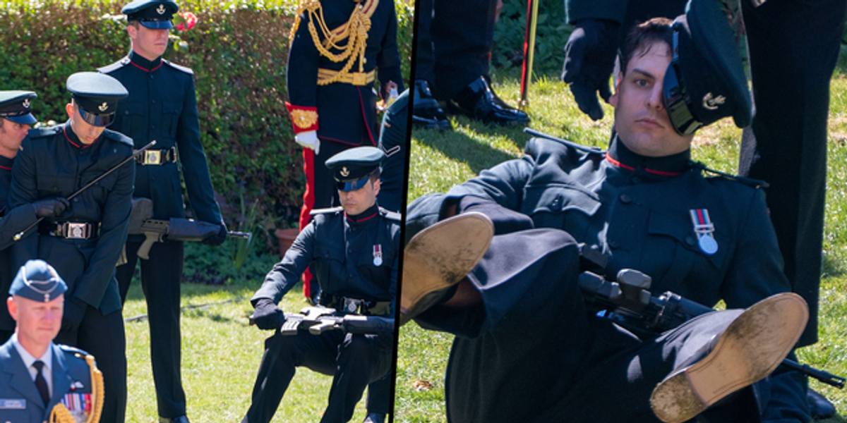 Soldier Collapses While Holding Rifle During Procession at Prince Philip's Funeral
