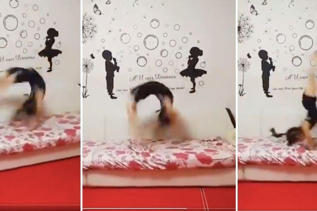 5-year-old amazes in viral video performing 80 back handsprings in under a minute