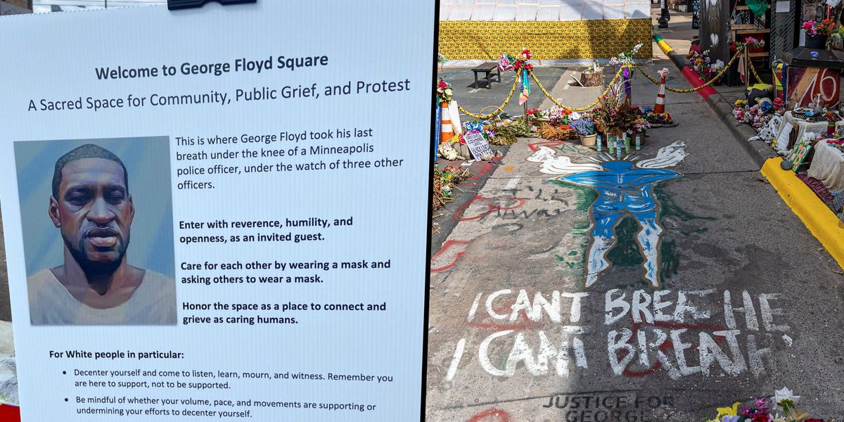 Sign at George Floyd Square Gives List of Rules 'for White People in Particular'