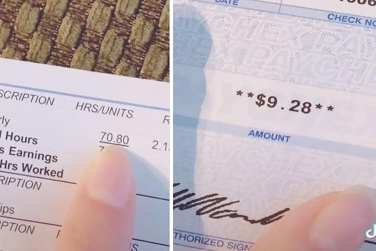 Bartender shares her $9.28 paycheck to remind everyone why tipping is so important