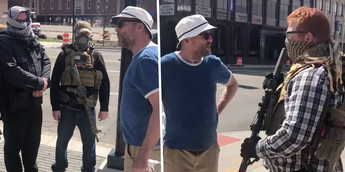 Enraged Bystander Confronts Armed Protesters Outside Police Station