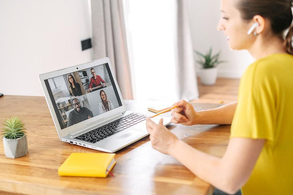 Woman works from home in a flexible career field