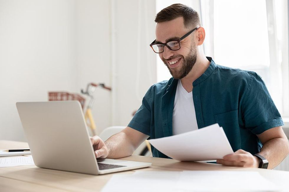 Man works from home in a flexible career field