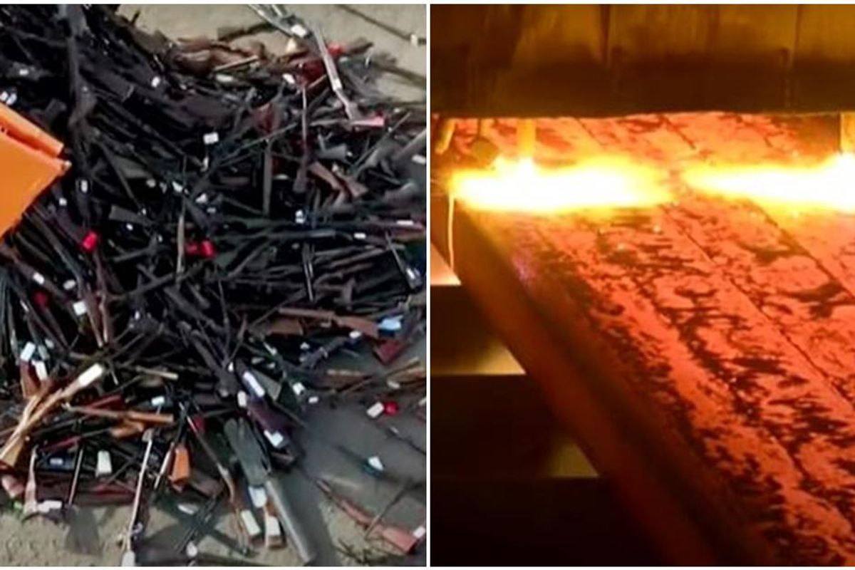 Satisfying video shows the Belgian government melting 22,000 guns into recycled steel