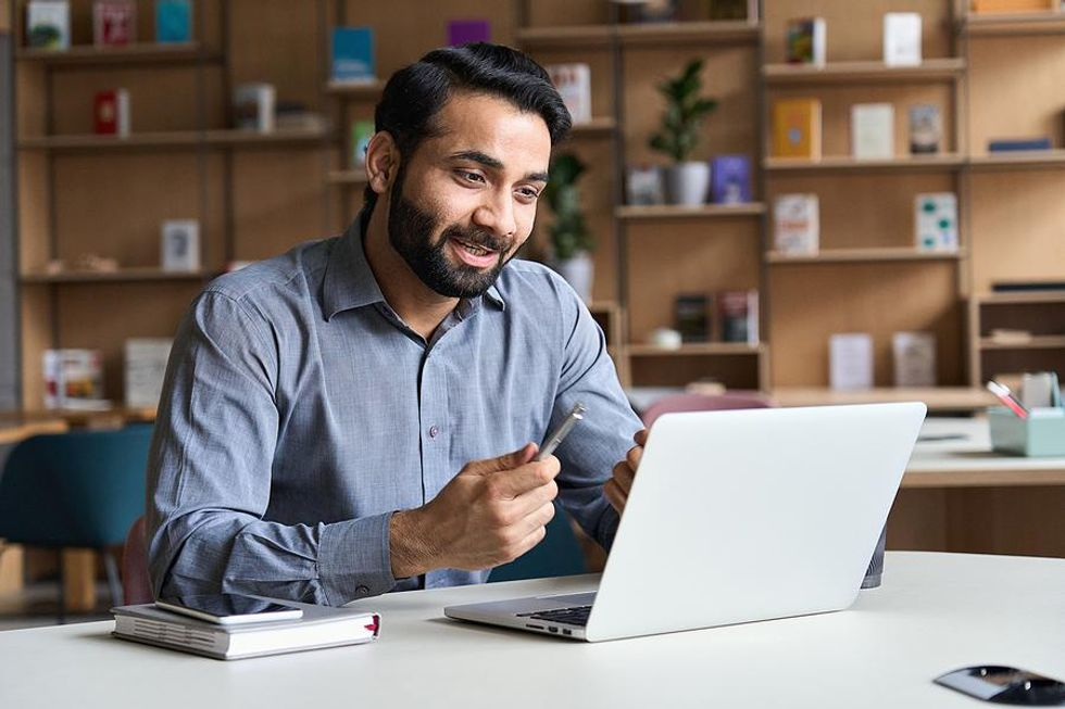 Man works remotely at a big tech company