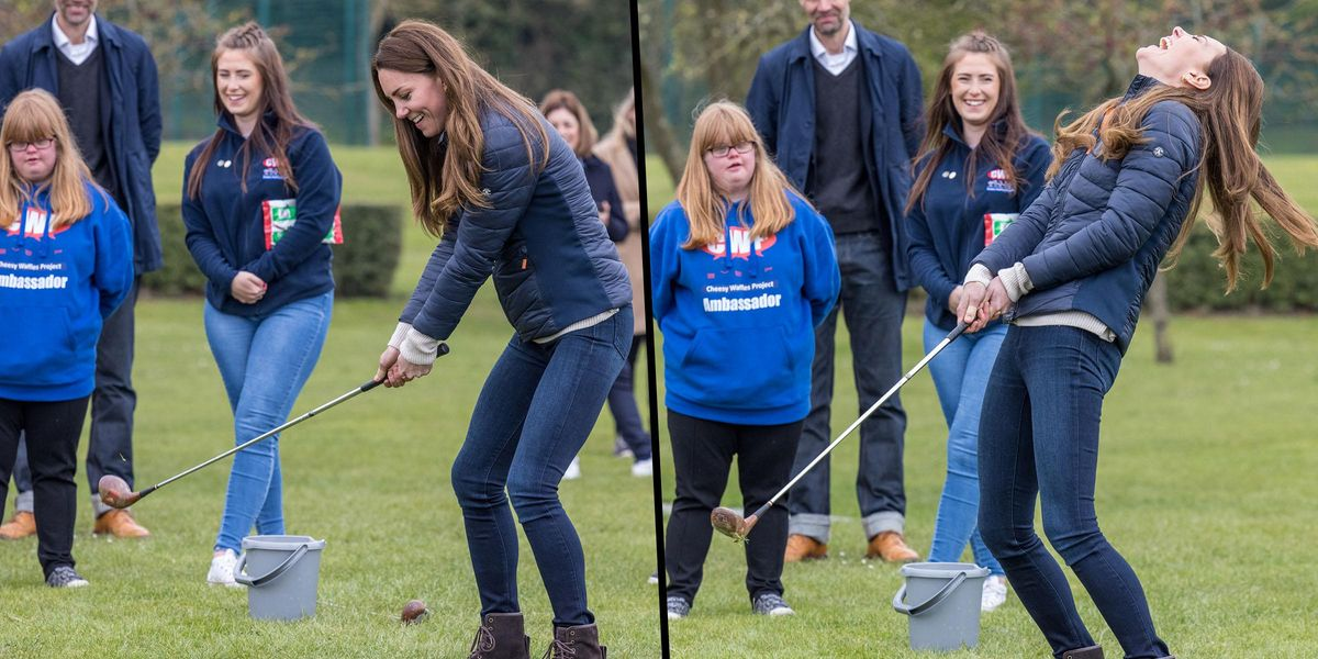 Kate Middleton Can't Stop Laughing As She Misses Ball While Trying Her Hand at Golf