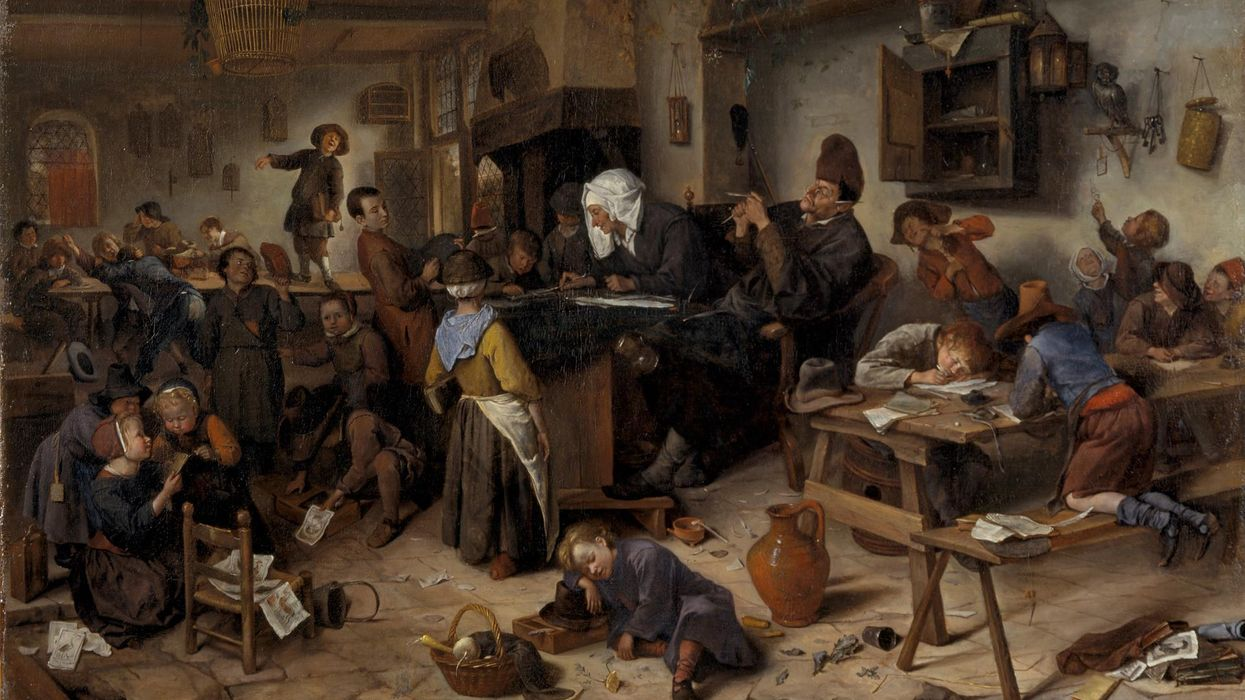 Jan Steen - A School for Boys and Girls [c.1670]