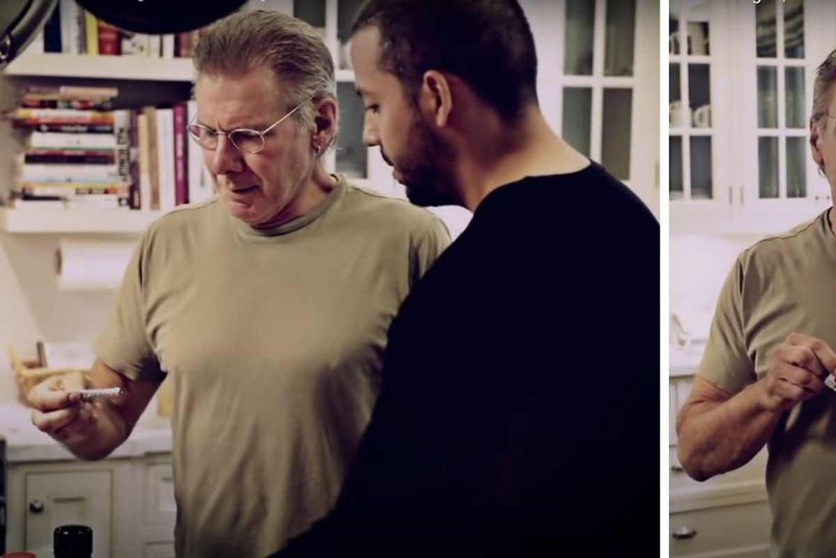Harrison Ford's reaction to David Blaine's magic trick in his kitchen has people rolling