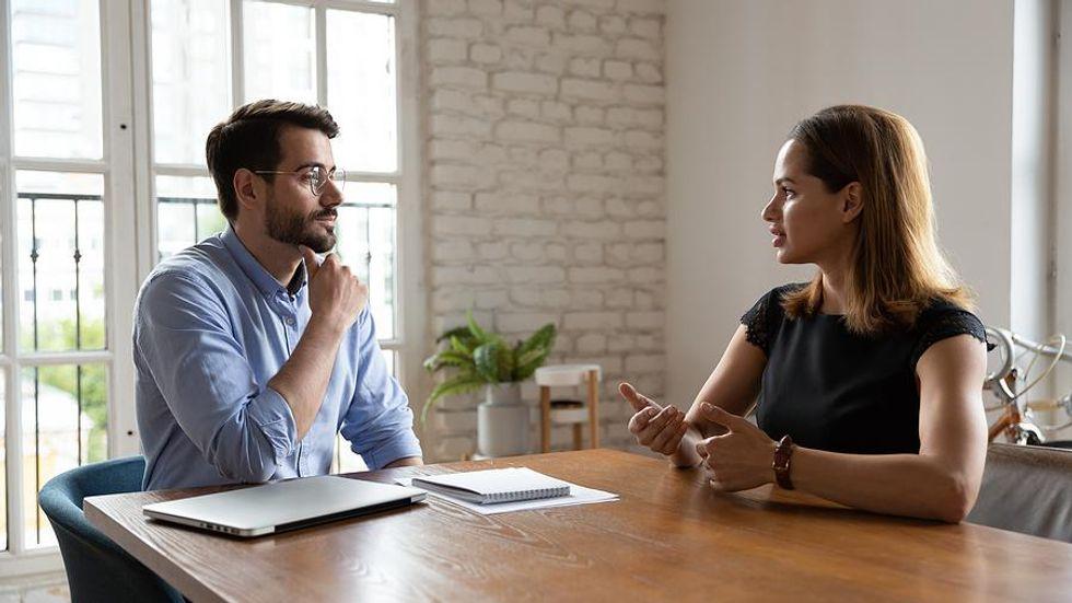 Job seeker accepts a job offer during an interview