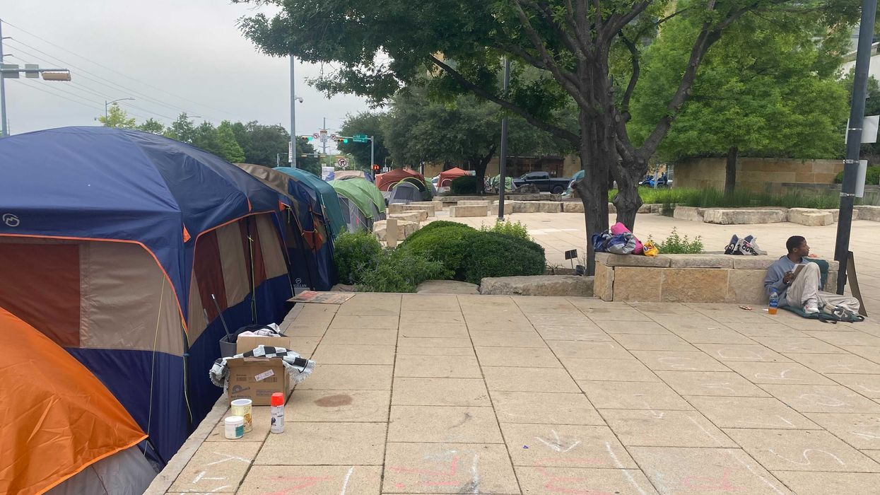 Homeless still in front of City Hall as camping ban goes into effect