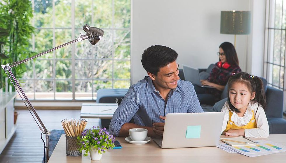Dad works from home for his low-stress job