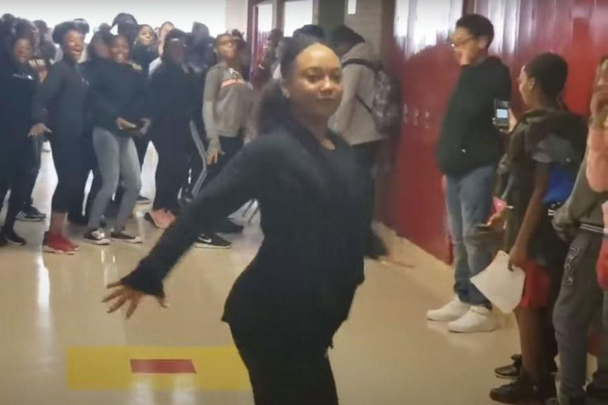 Teacher and her students expertly performing the 'Thriller' dance is pure Gen X bliss