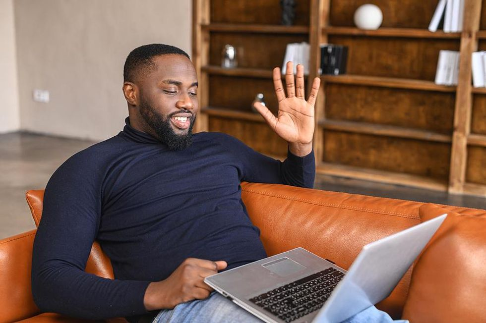 Job candidate on a virtual interview with the hiring manager