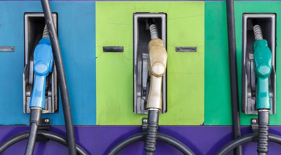 Three gas pumps
