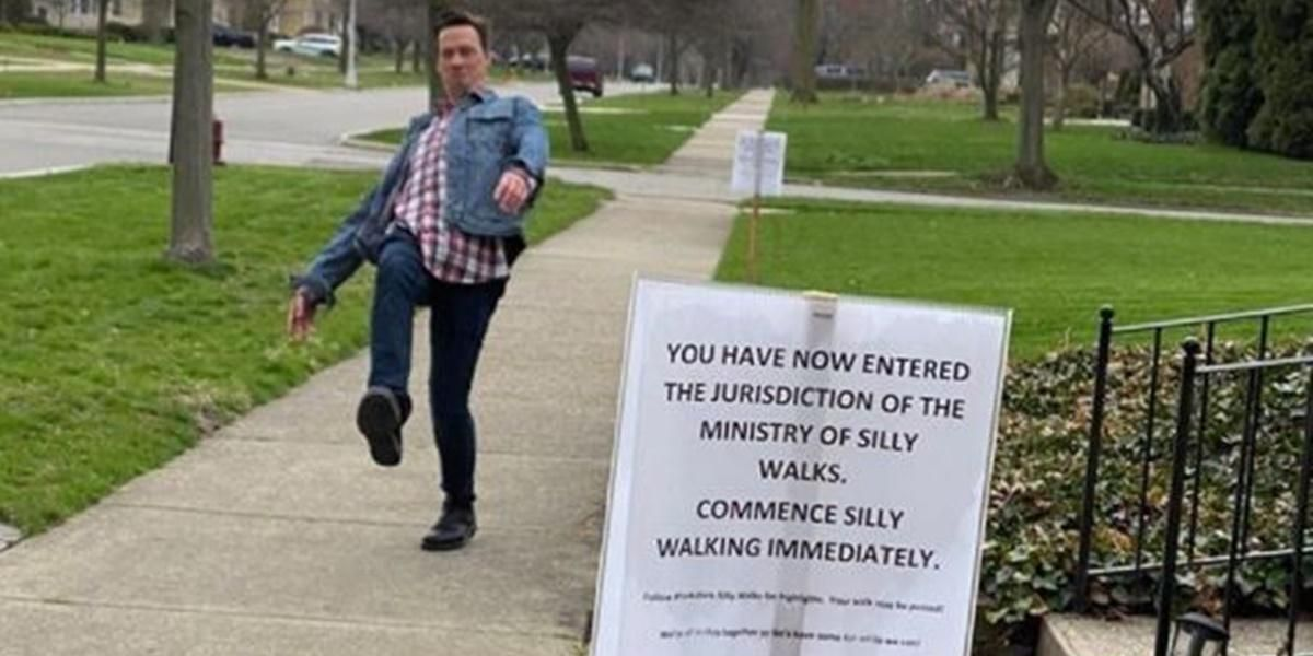 Family delights neighbors by demanding they 'silly walk' past their house