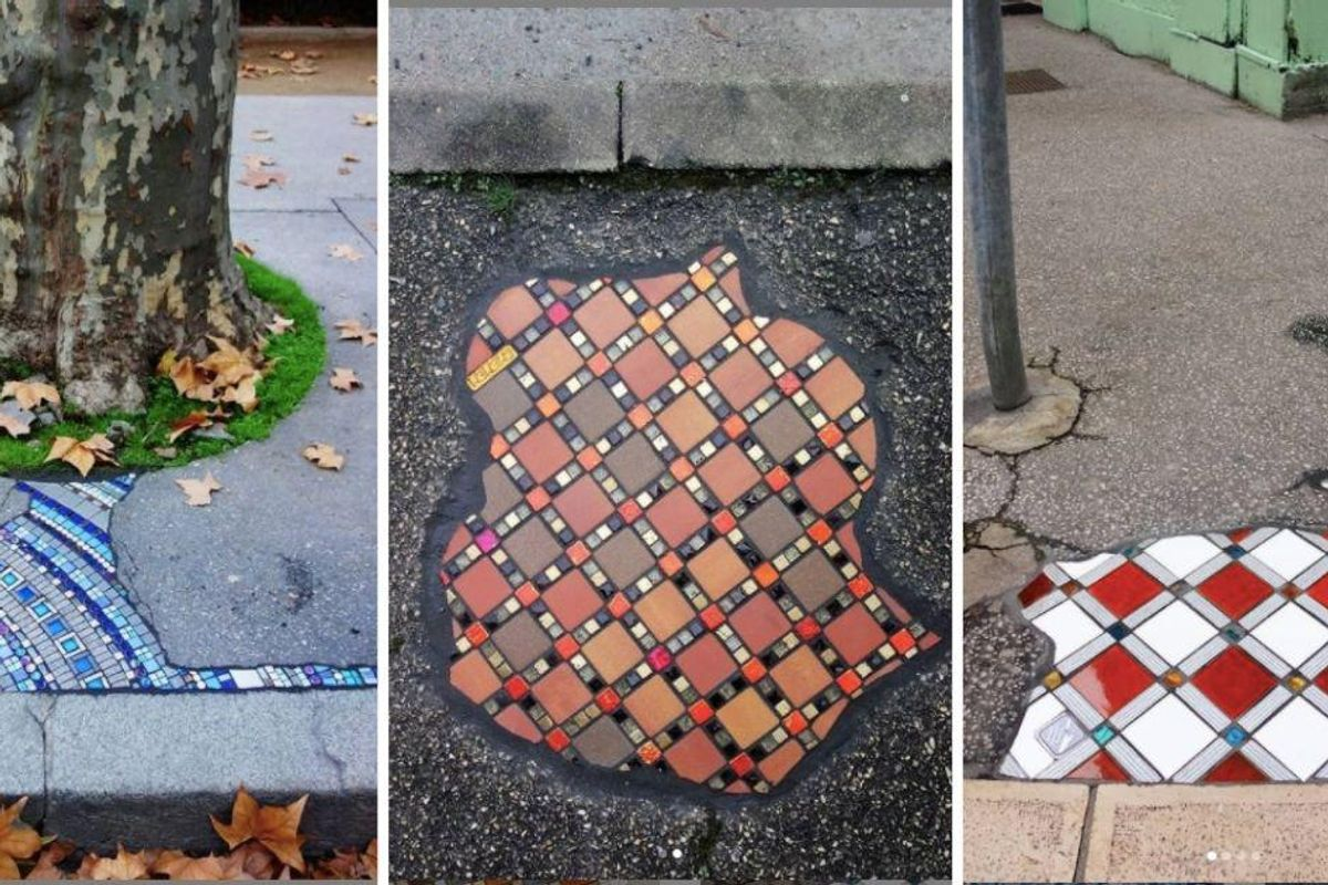 French street artist fills ugly, jagged potholes with gorgeous, colorful mosaics