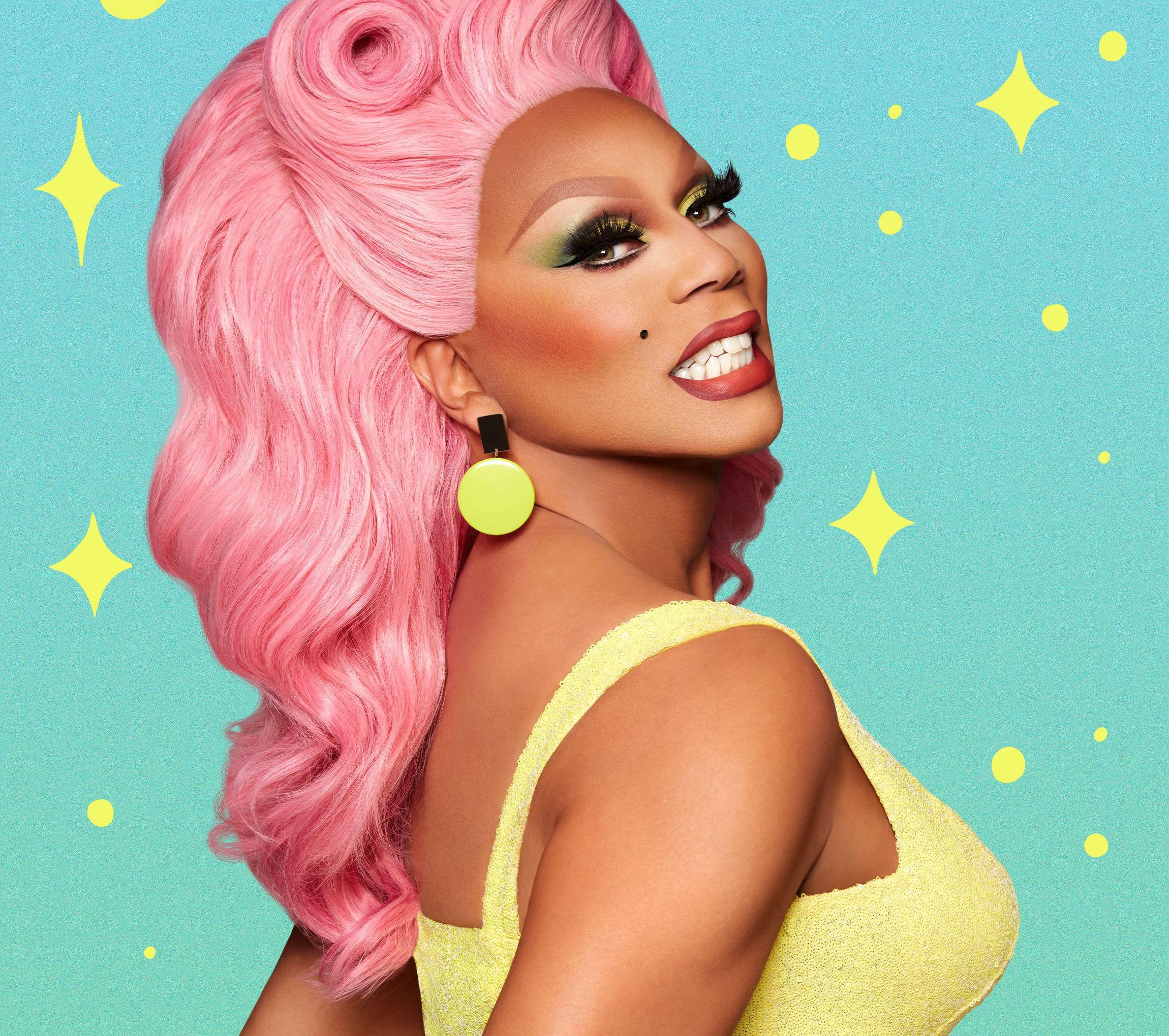 RuPaul in a pink wig and yellow dress