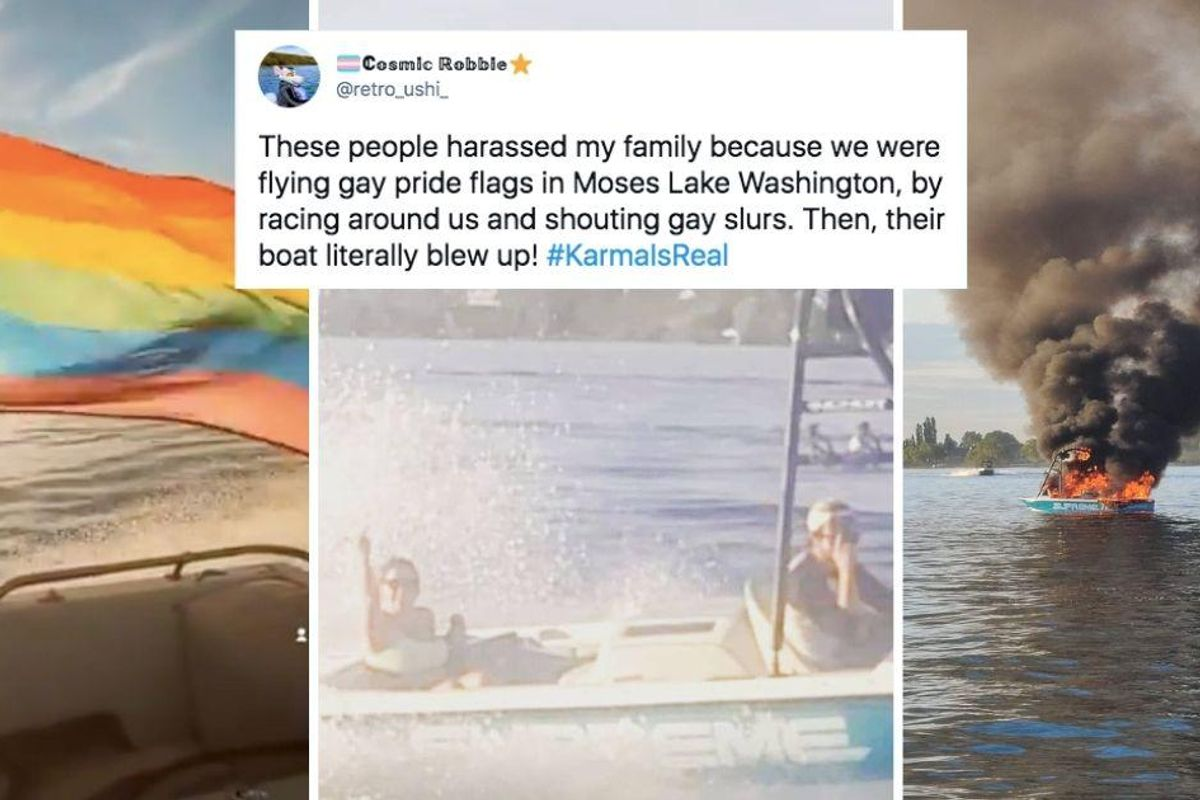 After harassing people celebrating Pride their boat burst into flames. Guess who saved them?
