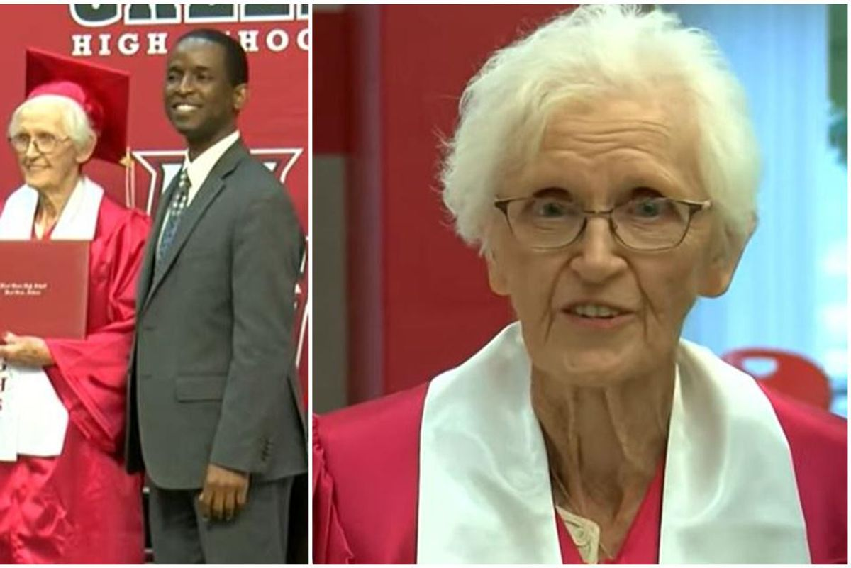 79 years ago she quit high school when her husband went to war. Today, she got her diploma.