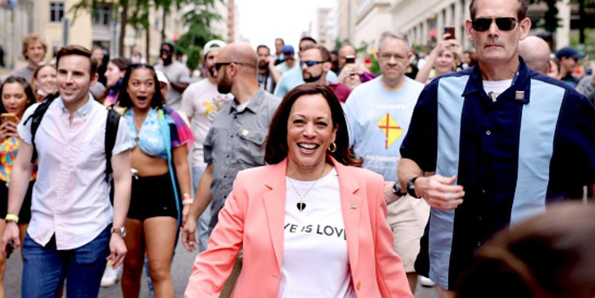 Kamala Harris Is First Sitting Vice President to March in Pride Event