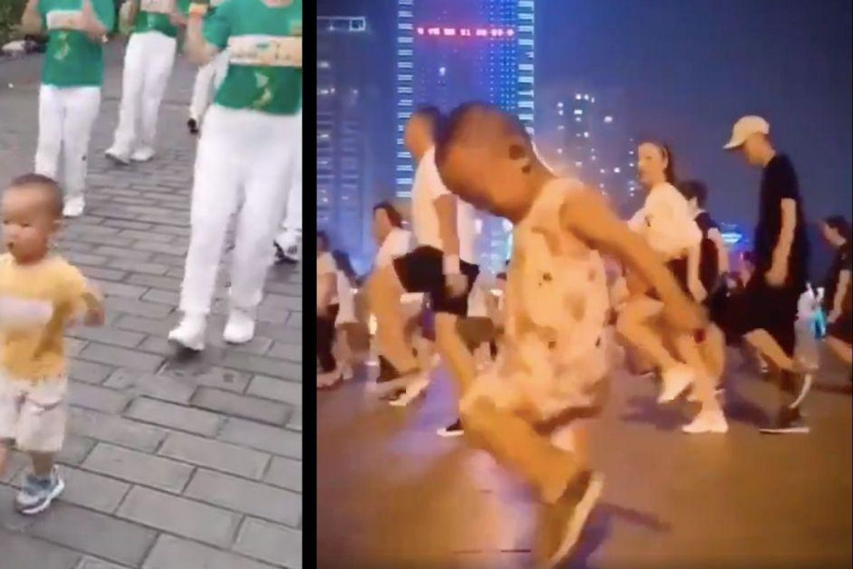 Everyone is sharing this video of a 3-year-old grooving alongside choreographed dancers