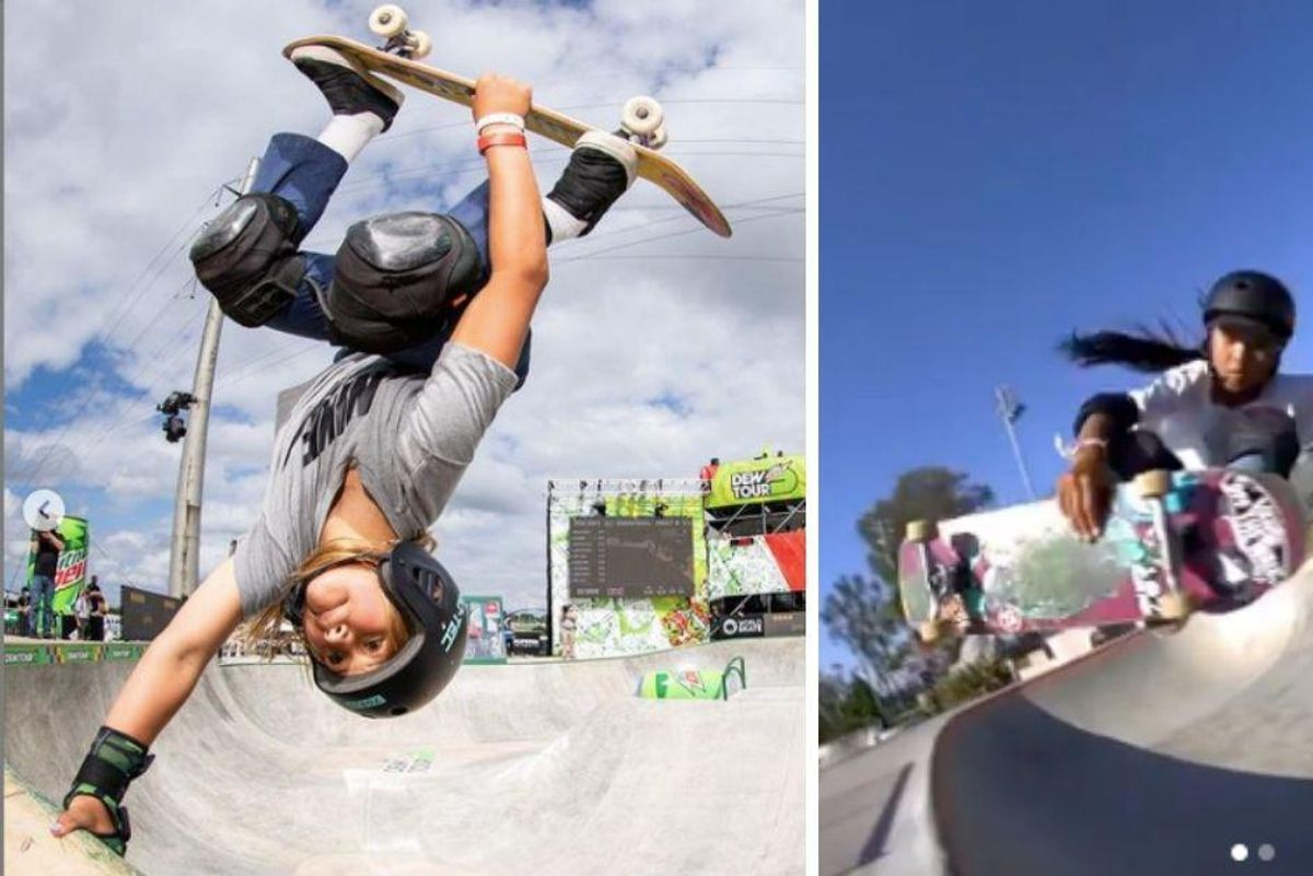Two 12-year-old girls qualified to compete in the first-ever Olympic skateboarding event