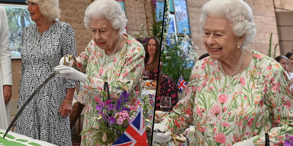 The Queen Insists on Cutting Cake With Huge Ceremonial Sword