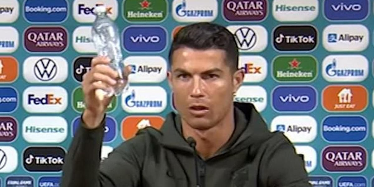 'Drink water, not soda': Soccer star Cristiano Ronaldo takes a rebellious stance to promote health