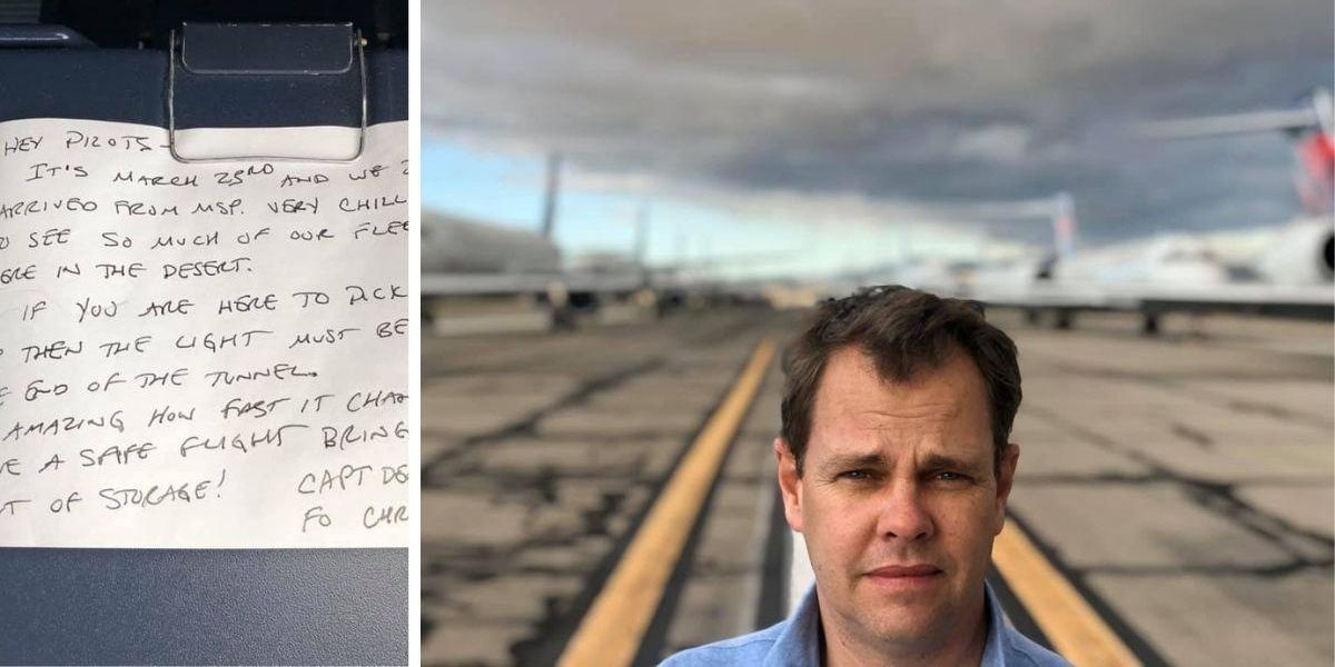 A Delta pilot's pandemic cockpit note was just found. It spells hope.