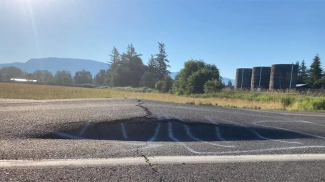 A road in Washington state buckled from the extreme heat.