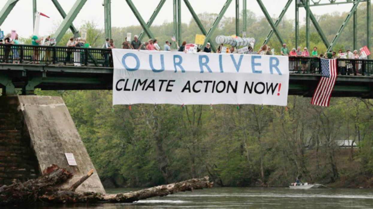 Residents of Pennsylvania and New Jersey protest against the proposed PennEast pipeline, at the Delaware River in 2017.