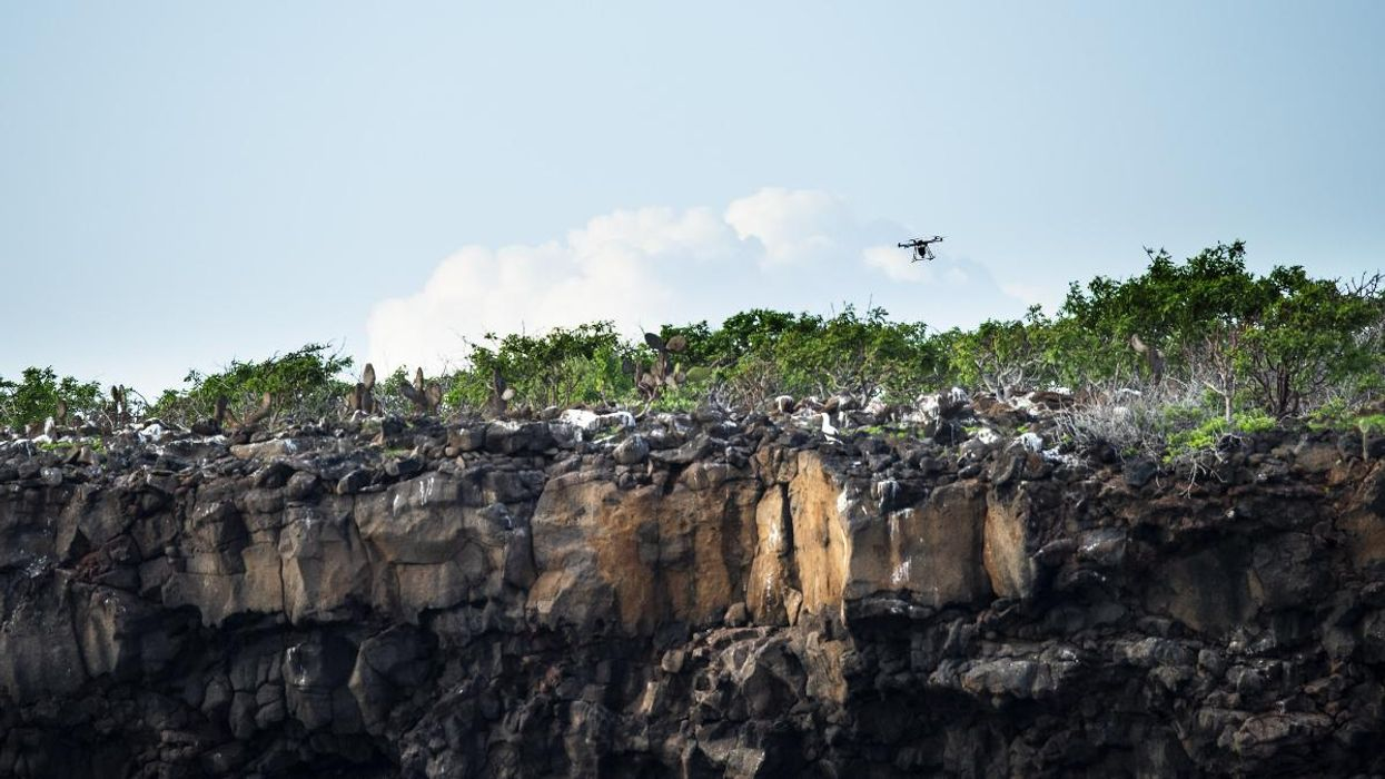 A drone flies over the Galapagos Islands.